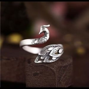 Peacock silver ring .925 adjustable size